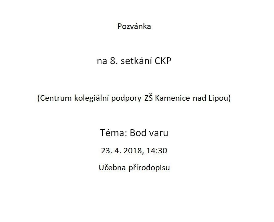 Pozvánka na setkání CKP
