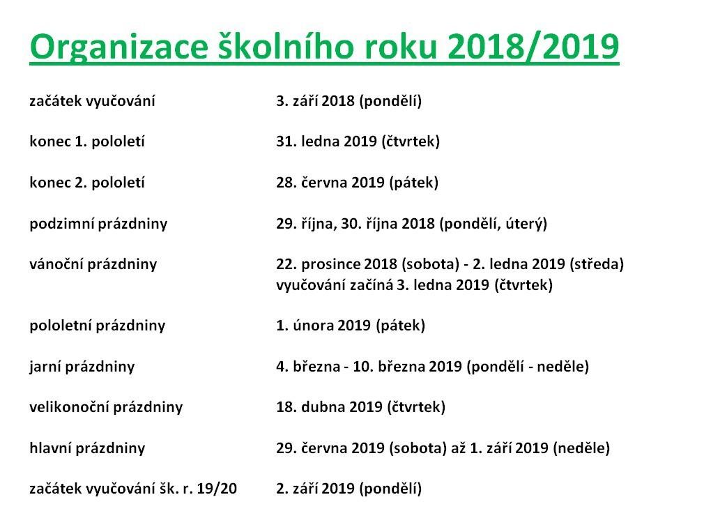 Organizace školního roku 2018/2019